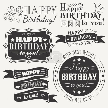 Illustration for Happy birthday greeting card collection in holiday design. Retro vintage style. Typography letters font type. Vector illustration for your pretty design. Black and white colors. - Royalty Free Image