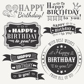 Happy birthday greeting card collection in holiday design Retro vintage style Typography letters font type Vector illustration for your pretty design Black and white colors