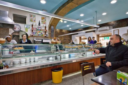 at touristic restaurants and bars area Lisbon