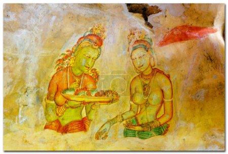 Sigiriya princesses Cave painting inside