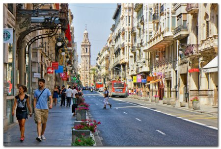 View of the streets in Valencia, Spain.