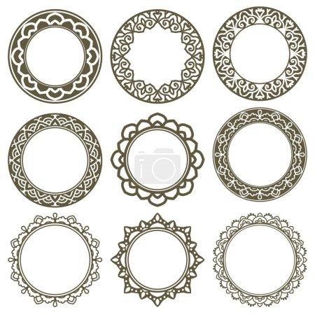 Set Of Circle Ornate Frames