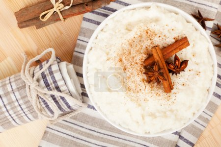 Rice pudding top view.
