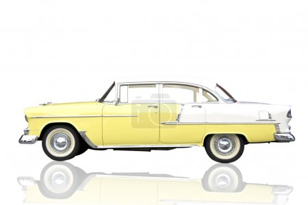 Retro car isolated on white.