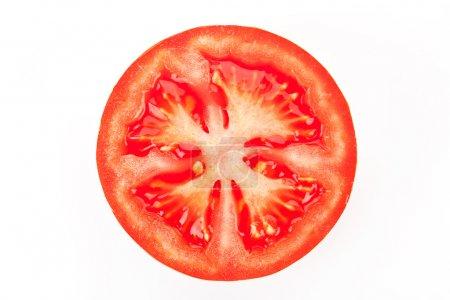 Tomato slice isolated on white background....