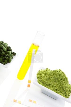 Superfood. Wheat grass, chlorella, spirulina.