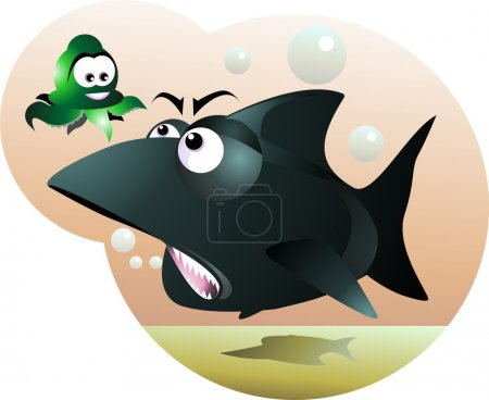 Illustration for A hunting shark is attacking an octopus - Royalty Free Image
