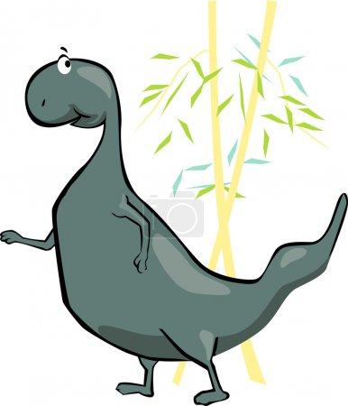Illustration for Illustration of a dinosaur near plants - Royalty Free Image