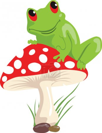 Illustration for Illustration of a green frog sitting on a red coloured - Royalty Free Image