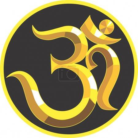 Illustration pour Illustration d'un symbole d'Om doré - image libre de droit