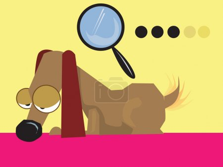 Illustration for Dachshund dog and a magnifying glass - Royalty Free Image