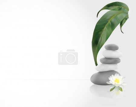 Illustration for SPA Background with leafs, stones and water lilly - Royalty Free Image