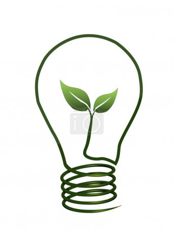 Illustration for Green energy concept with plant growing inside lightbulb - Royalty Free Image