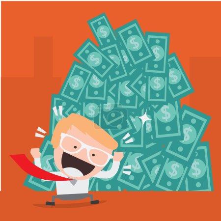 Businessman happy with big money