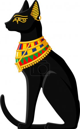 Illustration of a black Egyptian cat isolated on w...