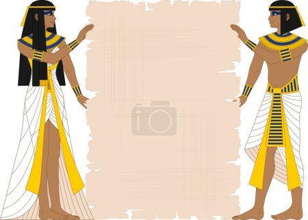 Vector illustration of Egyptian woman and man hold...