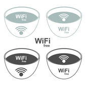 Wi-Fi zone signs to the store and bar Vector illustration
