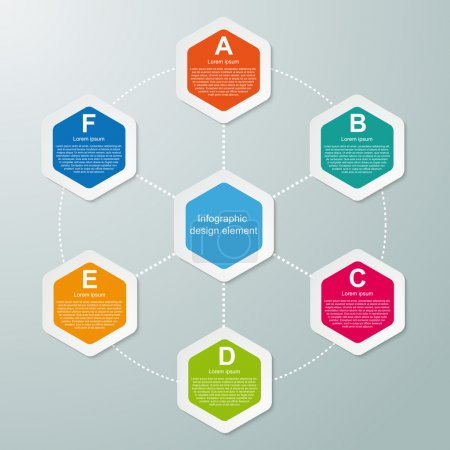 Illustration for Abstract hexagon infographics template. Vector illustration. - Royalty Free Image