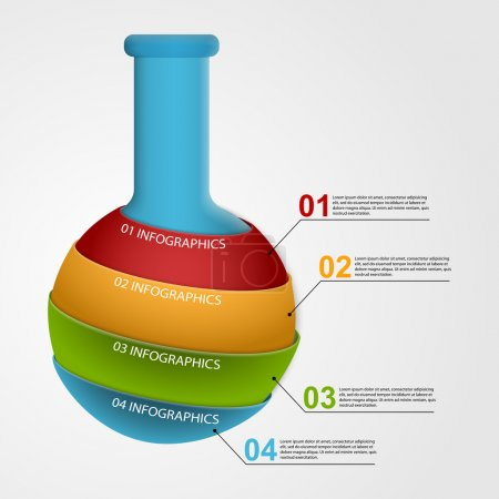 Illustration for Modern infographic on science and medicine in the form of test tubes. Design elements. - Royalty Free Image