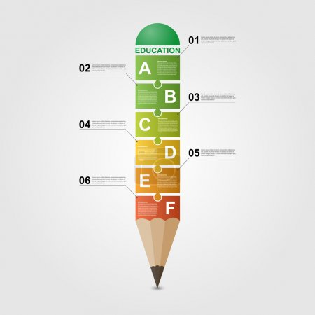 Illustration for Education pencil Infographic design template. - Royalty Free Image