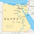 Map of Egypt with national borders, cities rivers ...