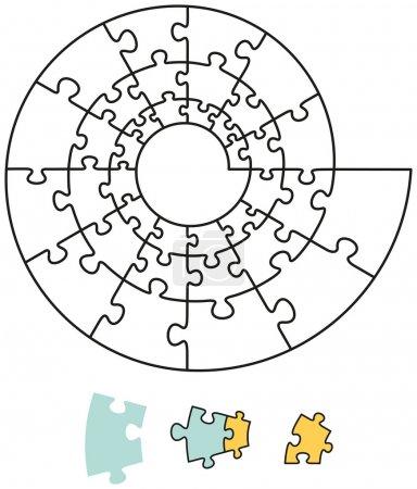 Illustration pour Puzzle en spirale avec des pièces uniques qui peuvent être individuellement enlevées et disposées. Illustration vectorielle sur fond blanc . - image libre de droit
