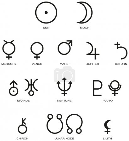 Illustration for Illustration of the main planet symbols of astrology isolated and on white background. - Royalty Free Image