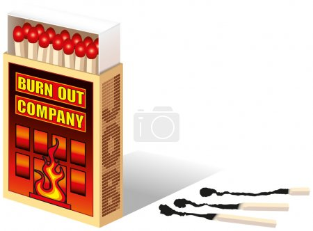 Illustration for Matchbox, with the text labeled: Burnout Company. Close beside it are burnt matches. Isolated vector on white background. - Royalty Free Image