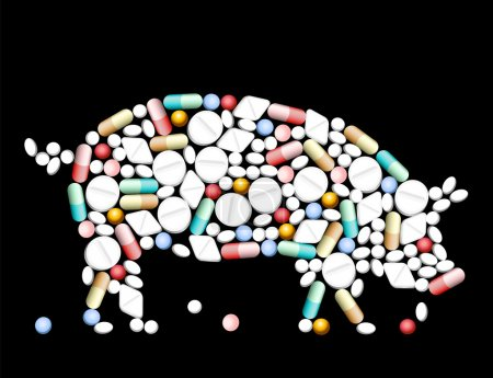Illustration for Tablets, pills and capsules, that shape a pig. - Royalty Free Image