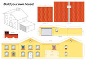 Papírový model domu žlutá