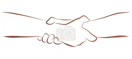 Illustration for Outline illustration of a firm (helping, rescuing) handshake. - Royalty Free Image