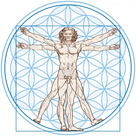 Vitruvian Man In Flower of Life
