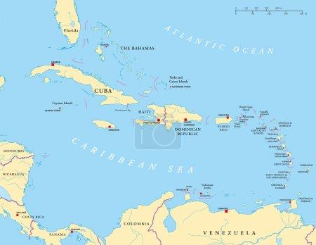 Caribbean - Large And Lesser Antilles - Political Map