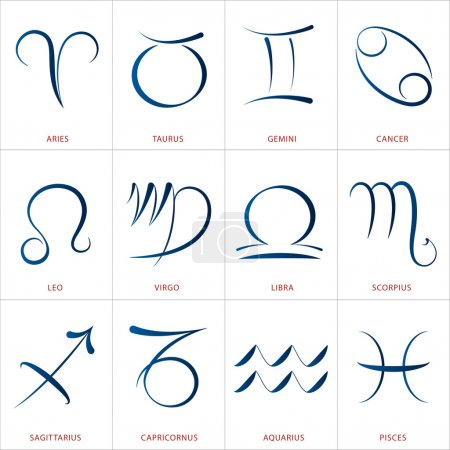 Illustration for Calligraphic astrology illustrations of the twelve zodiac signs. - Royalty Free Image