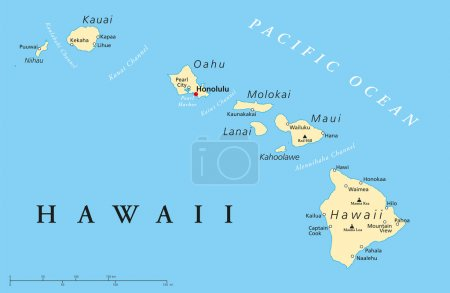 Illustration for Political map of Hawaii Islands with the capital Honolulu, with borders, most important cities and volcanoes. Vector illustration with english labeling and scale. - Royalty Free Image
