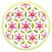 Flower-of-life-Symbol composed of pink flowers and green leaves