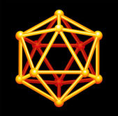 Icosahedron Gold Three-dimensional Shape