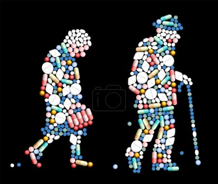 Illustration for Tablets, pills and capsules, that shape the silhouette of an old woman and an old man. Vector illustration on black background. - Royalty Free Image