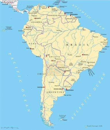 Illustration pour Carte politique de l'Amérique du Sud avec des États uniques, des capitales, des villes les plus importantes, des frontières nationales, des lacs et des rivières. Illustration vectorielle avec marquage et mise à l'échelle en anglais . - image libre de droit