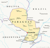 Political map of Paraguay with capital Asuncion national borders most important cities rivers and lakes Illustration with English labeling and scaling