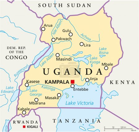 Political map of Uganda with capital Kampala, with...