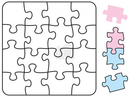 Illustration for Jigsaw puzzle in the form of a square with single pieces which can be individually removed and arranged. Illustration on white background. - Royalty Free Image