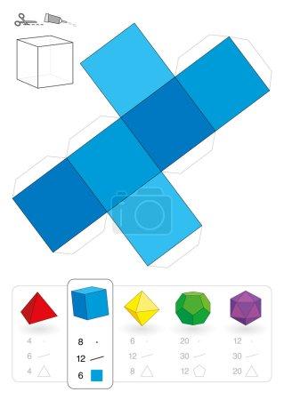 Illustration pour Modèle en papier d'un cube ou hexaèdre, l'un des cinq solides platoniques, pour faire fonctionner un artisanat tridimensionnel à partir du filet carré bleu. Ci-dessous sont tous les cinq avec le nombre de sommets, bords et faces . - image libre de droit