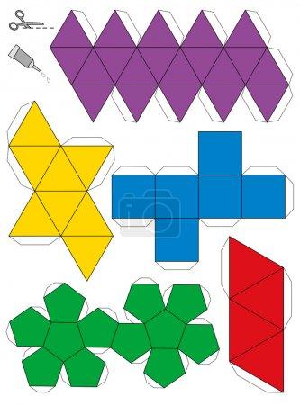 Illustration pour Modèle en papier des cinq solides platoniques, pour faire fonctionner un artisanat tridimensionnel à partir des filets. Illustration vectorielle isolée sur fond blanc . - image libre de droit