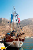 Traditional fishing boat on Mykonos island Greece