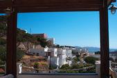 Panoramic view of Plaka village on Milos island, Greece