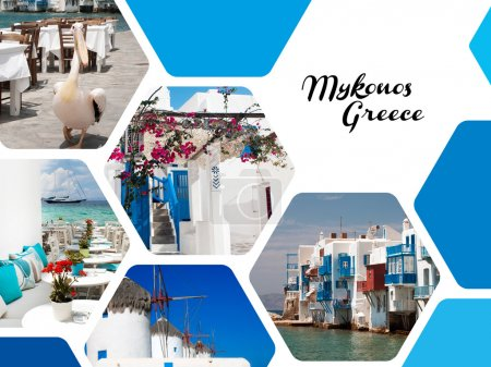 Set of summer photos of Mykonos island, Greece
