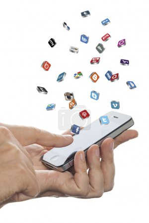 Social media icons fly off the iphone screen...