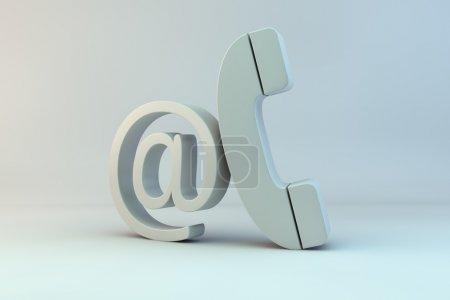 Photo pour Rendement 3d du courrier et du modèle de téléphone avec éclairage global - image libre de droit