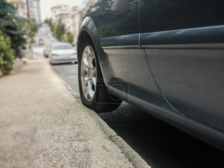 Photo for Novice driver parked the car on sidewalk - Royalty Free Image